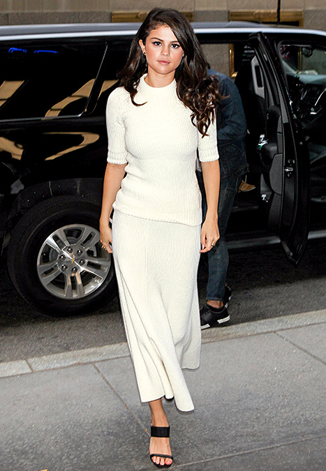 Selena Gomez seen arriving at The Tonight Show starring Jimmy Fallon at NBC Studios.  Credit: MPNC/AKM-GSI      In another autumn-appropos concept,  Selena Gomez  wore white on white in a crew-neck sweater and trumpet skirt set, both by Michael Kors, while promoting her latest album,  Revival , in NYC on Oct. 15.    Read more:  http://www.usmagazine.com/celebrity-style/news/amal-alamuddin-reese-witherspoon-more-celebs-break-labor-day-rule-20152310#ixzz3phB1bFJp   Follow us:  @usweekly on Twitter  |  usweekly on Facebook