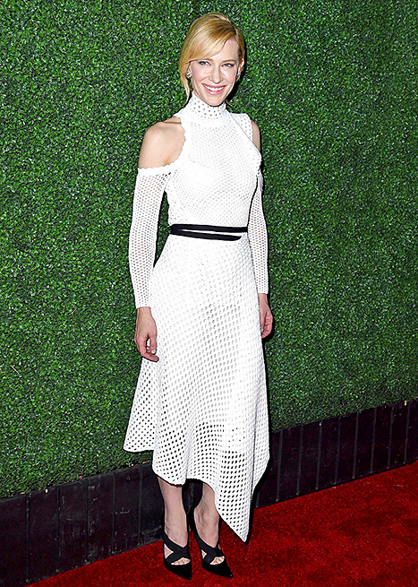 "Cate Blanchett arrives at the Industry Screening Of Sony Pictures Classics' ""Truth"" at Samuel Goldwyn Theater on October 5, 2015 in Beverly Hills, California.  Credit: Steve Granitz/WireImage.com     Attending an industry screening of her controversial movie  Truth ,  Cate Blanchett  gleamed in an asymmetrical white getup by Proenza Schouler. She accessorized the shoulder-baring frock with matching black crisscross heels.    Read more:  http://www.usmagazine.com/celebrity-style/news/amal-alamuddin-reese-witherspoon-more-celebs-break-labor-day-rule-20152310#ixzz3phEBPiF9   Follow us:  @usweekly on Twitter  