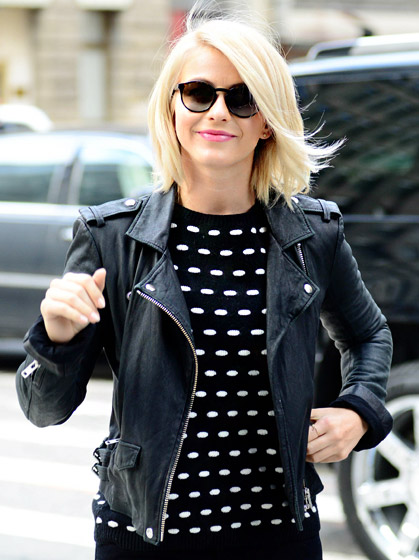 "Learn to Love Leather     ""I love a good short leather jacket because that goes with everything,""  Safe Haven 's Julianne Hough explains. ""I like leather pants as well because you can either dress them up or be really casual during the day."" Hough's favorite way to polish off her leather look? A great pointy heel!  Read more:  http://www.usmagazine.com/celebrity-style/pictures/stars-favorite-timeless-fashion-tips-2013252/28831#ixzz3phRolxXh   Follow us:  @usweekly on Twitter  