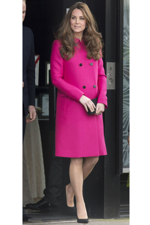 What: Mulberry coat When: March 27 Where: Making her last public appearance before the royal baby arrives while visiting the Stephen Lawrence Centre with Prince William. Does the bright pink hue hint at a royal baby girl on the way? Let the official royal baby watch begin.