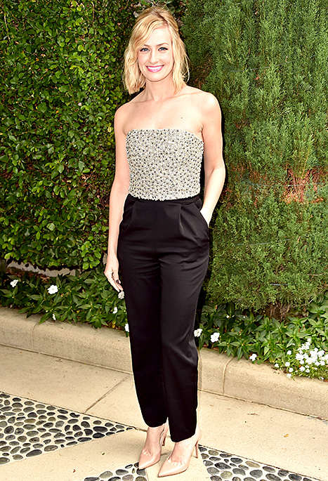Beth Behrs attends The Rape Foundation's annual brunch at Greenacres, The Private Estate of Ron Burkle on October 4, 2015 in Beverly Hills, California.  Credit: Alberto E. Rodriguez/Getty Images Beth Behrs chose an embellished version — the Alice + Olivia jumpsuit with a bedazzled bodice — for the Rape Foundation's Annual Brunch on Oct. 4 in Beverly Hills. Read more: http://www.usmagazine.com/celebrity-style/news/celebs-are-obsessed-with-black-and-white-jumpsuits-shop-the-trend-20152810#ixzz3qR8X0gHJ  Follow us: @usweekly on Twitter | usweekly on Facebook
