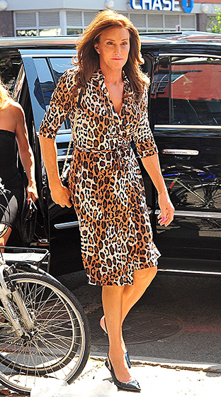 Leopard Lady  Meow! Kim Kardashian's stepparent stepped out in downtown NYC on June 30, 2015, wearing an animal-print wrap dress, which she paired with a chain purse and black heels.  Read more:  http://www.usmagazine.com/celebrity-style/pictures/caitlyn-jenner-best-style-moments-2015157/46389#ixzz3qRG0FjaE   Follow us:  @usweekly on Twitter  |  usweekly on Facebook