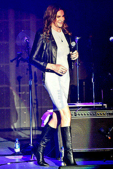 Moto Mama  Jenner showcased her shape in a fitted, gray Ronny Kobo dress, topped by a motorcycle jacket and teamed with knee-high boots, while taking in a Culture Club concert at the Greek Theatre in L.A. on July 24, 2015.  Read more:  http://www.usmagazine.com/celebrity-style/pictures/caitlyn-jenner-best-style-moments-2015157/47823#ixzz3qRIHe2Rh   Follow us:  @usweekly on Twitter  |  usweekly on Facebook
