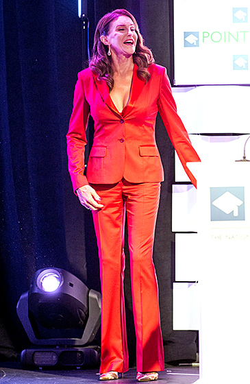 Lady in Red  The fierce brunette took the plunge in a strawberry-hued tuxedo sans shirt — though with a red lace bra — at the Point Foundation's 4th Annual Voice Dinner in L.A. on Oct. 3, 2015.   Read more:  http://www.usmagazine.com/celebrity-style/pictures/caitlyn-jenner-best-style-moments-2015157/47824#ixzz3qRIorUog   Follow us:  @usweekly on Twitter  |  usweekly on Facebook