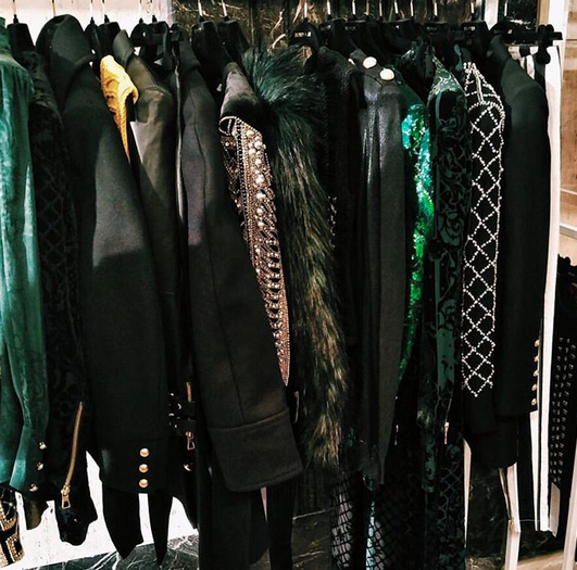 The collection features a couple of dozen items, featuring lots of embellishments, velvet, sequins and faux fur. [Photo: Instagram/Balmain x H&M]