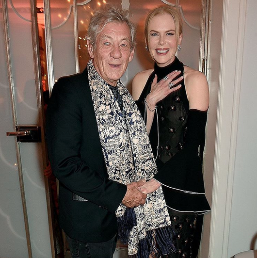 Sir Ian McKellan (who was boasting a VERY nice scarf) and Nicole Kidman pose for a pic. [Photo: Instagram/Harper's Bazaar]