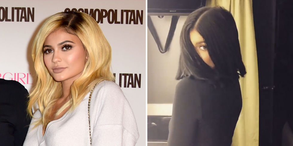 KYLIE JENNER  From blonde waves to a blunt black bob.  GETTY/INSTAGRAM