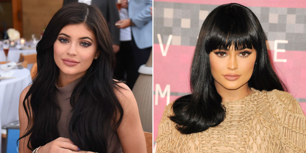 KYLIE JENNER  From long to a mid-length wig with bangs.  GETTY