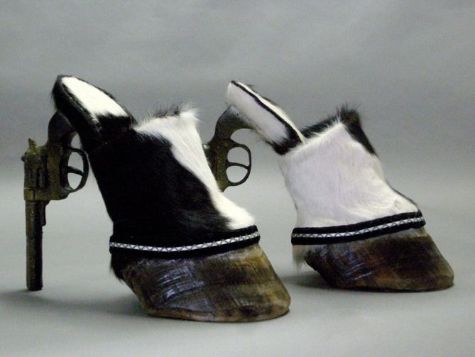 5. You'll feel more like a horse than a cowgirl in these intense shoes with hoofs in the front and a pistol as the heel. Definitely the least comfortable, and the most badass.