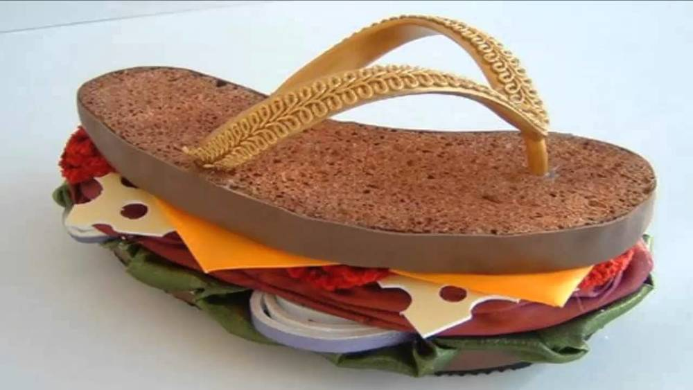 14. No way to wear this hilarious shoe without constantly being starving, or craving a sandwich. Filled with deli meats, cheeses and more. At least you'll be healthy since your feet are on whole wheat!