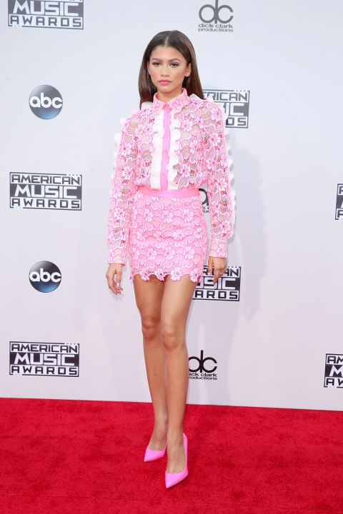 ZENDAYA In Ungaro shirt and skirt and Christian Louboutin pumps