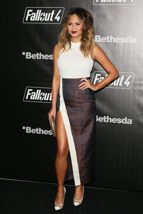 In a thigh-high slit skirt at the Los Angeles Fallout 4 launch party.  GETTY