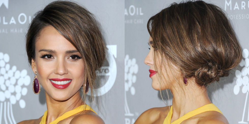 Who: Jessica Alba  What: A Fresh Take on Formal  How-To: Alba took all the ingredients that make up a traditional black tie beauty look—a French twist, red lips, winged eyeliner—and spun them together in a modern, youthful way. Pair red lipstick with other jewel tones (earrings, even statement ones, feel less loud than bold eyeshadow) to make the classic color feel cool and style your twist loosely to the side instead of the back, keeping the texture rough and a bit messy.  Editor's Pick: Honest Beauty Truly Kissable Lip Crayon Demi-Matte in Strawberry Kiss, $18, honestbeauty.com .  GETTY