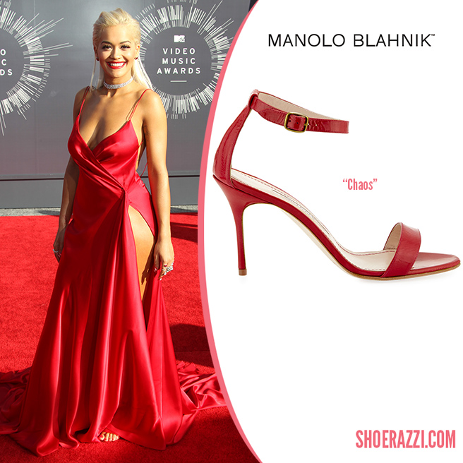 Credit: FayesVision/Wenn   Rita Ora  wore  Manolo Blahnik   Chaos  sandals to the 2014 MTV Video Music Awards. They feature red leather, thin straps and 105mm heel.  Chaos  is available in several styles at  Neiman Marcus , or  mirrored silver leather  & black patent leather  at Saks Fifth Avenue.   Outfit Details : Donna Karan Atelier custom wrap effect red silk gown, a romantic red lip plus diamonds from Lorraine Schwartz and ruby studded earrings.  Check out more shoes  spotted on Rita .   Designer(s):   Manolo Blahnik ,  Style(s):   Sandals    Posted in:   Celebrity ,  Tag(s):   2014 MTV ,  2014 MTV Video Music Awards ,  Ankle Strap ,  Chaos ,  designer heel ,  Designer Sandal ,  Manolo Blahnik ,  Red Leather ,  Rita Ora ,  Sandal ,  shoerazzi
