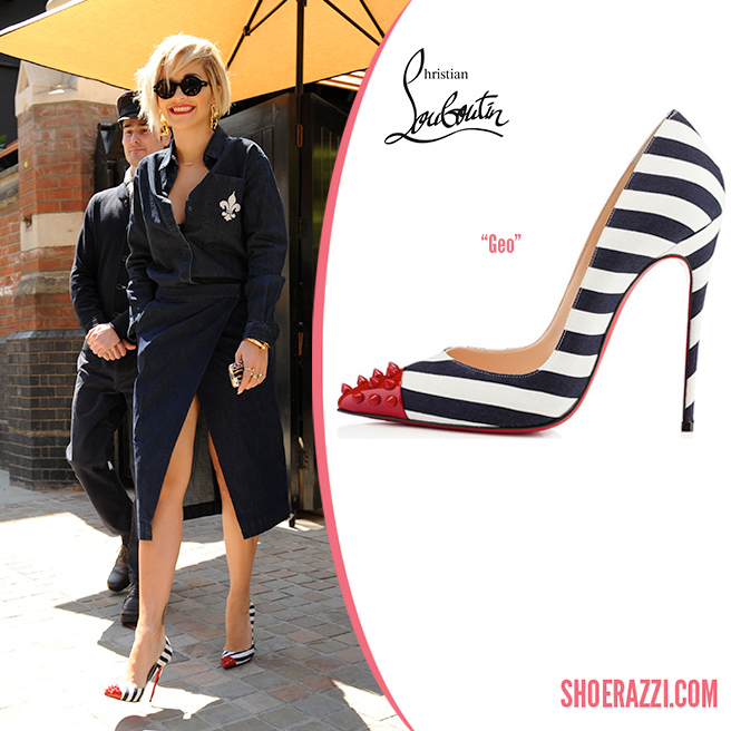 Credit: Wenn   Rita Ora  was spotted leaving her hotel in London wearing  Christian Louboutin   Geo  pumps. They're from the Spring 2014 collection  featuring striped navy & white cotton, spiked red patent leather cap-toe and 120mm heel. Geo  is available in black suede at  Christian Louboutin  and you can also find the latest styles at  Saks Fifth Avenue and  Neiman Marcus .  She wore a denim-on-denim outfit by Être Cécile including a long sleeve button-up top with the words 'To Be' embroidered in leopard on the back and wrap pencil skirt with a fleur-de-lis embroidered on the back pocket from the  Fall 2014 collection .  Rita accessorized with G-Star Raw   Fat Wilton  sunglasses , her favorite Jennifer Fisher Jewelry custom  Rita nameplate necklace, Cartier  XL Juste un Clou  bracelet and oversized gold chain link earrings.  Check out more shoes  spotted on Rita .   Designer(s):   Christian Louboutin ,  Style(s):   Pumps    Posted in:   Celebrity ,  Tag(s):   christian louboutin ,  designer heel ,  Geo ,  London , Pump ,  Rita Ora ,  shoerazzi ,  Spring 2014 collection