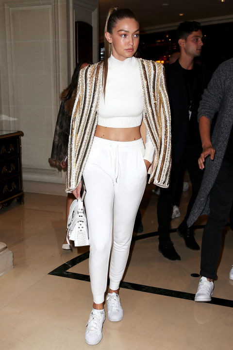 Arriving to the Balmain Spring 2016 show during Paris Fashion Week. GETTY
