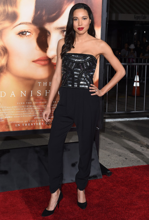 Jurnee Smollett-Bell was also at   The Danish Girl   LA Premiere, slipping on an embellished bodice jumpsuit and red lips