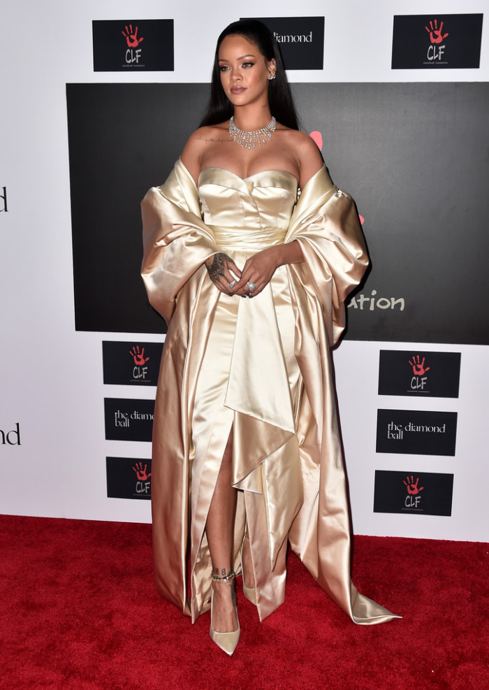 Rihanna was the belle of the ball in a cream Dior getup. Hot!
