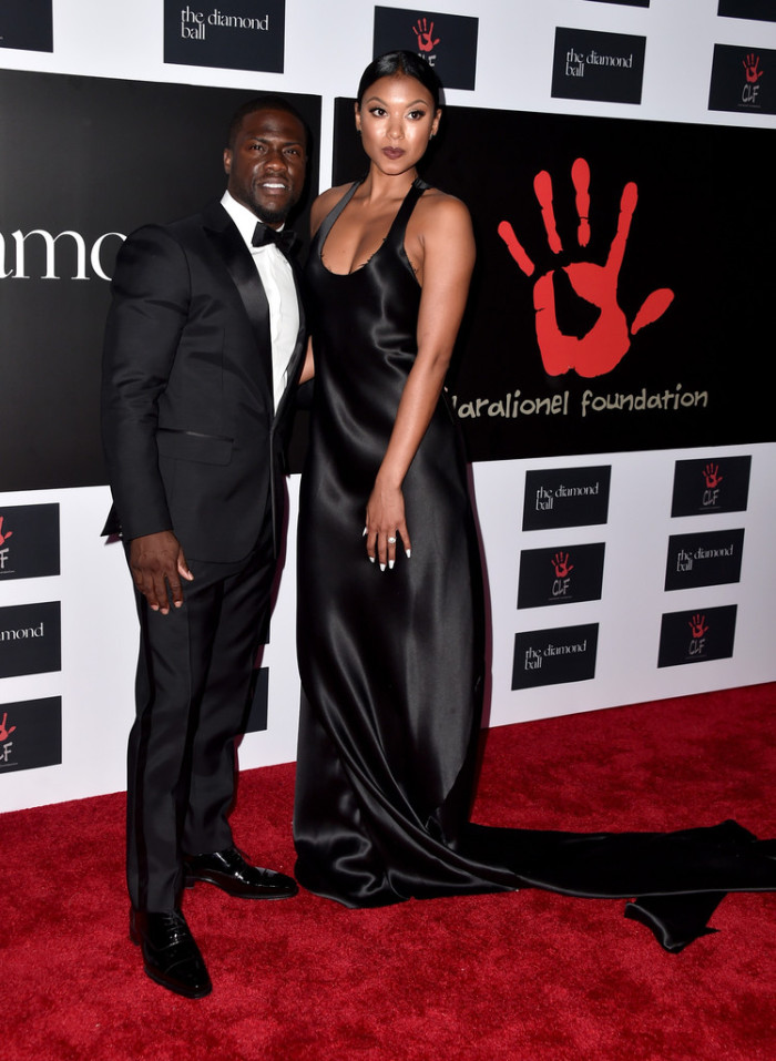 Kevin Hart and Eniko Parrish were quite the stylish duo in a tux and black silk gown with a cascading train, respectively. They're a great-looking couple!
