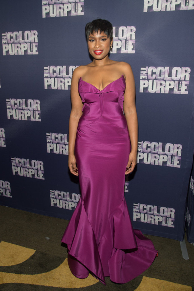 Jennifer Hudson went bold in a $2,875   Zac Posen Strapless Pleated Neck Mermaid Gown  in a fitting hue that teetered between purple and pink. Hot!