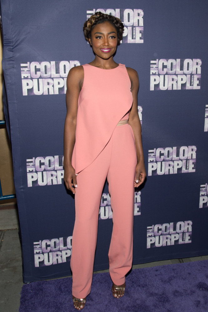 Patina Miller was pretty in pink in a Wai Ming jumpsuit in the rosy hue. The fit needed some tailoring here, but her braided updo was divine.
