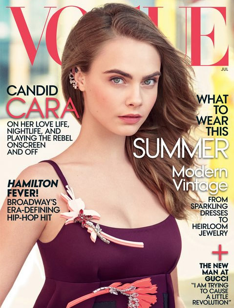 Vogue Model-turned-actress Cara Delevingne sports a chunky diamond version on July's cover of Vogue. But we thought we'd seen it before...