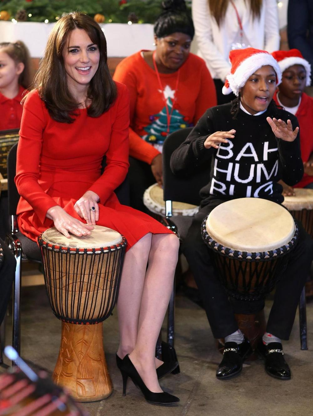Kate Middleton Kate Middleton got into the Christmas spirit the Anna Freud Centre Family School Christmas party at the Anna Freud Centre in London on Dec. 15, 2015.