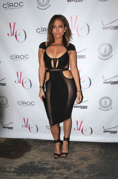 The ageless Jennifer Lopez sizzled as she   celebrated her 46th birthday   in a black sheer paneled number by   Bao Tranchi  . This was yet another piece that hit social media pretty hard! Her racy number features an open back, multiple cutouts and a fitted silhouette. She stuck to the all-black rule as she slipped into a pair of mesh heeled sandals.