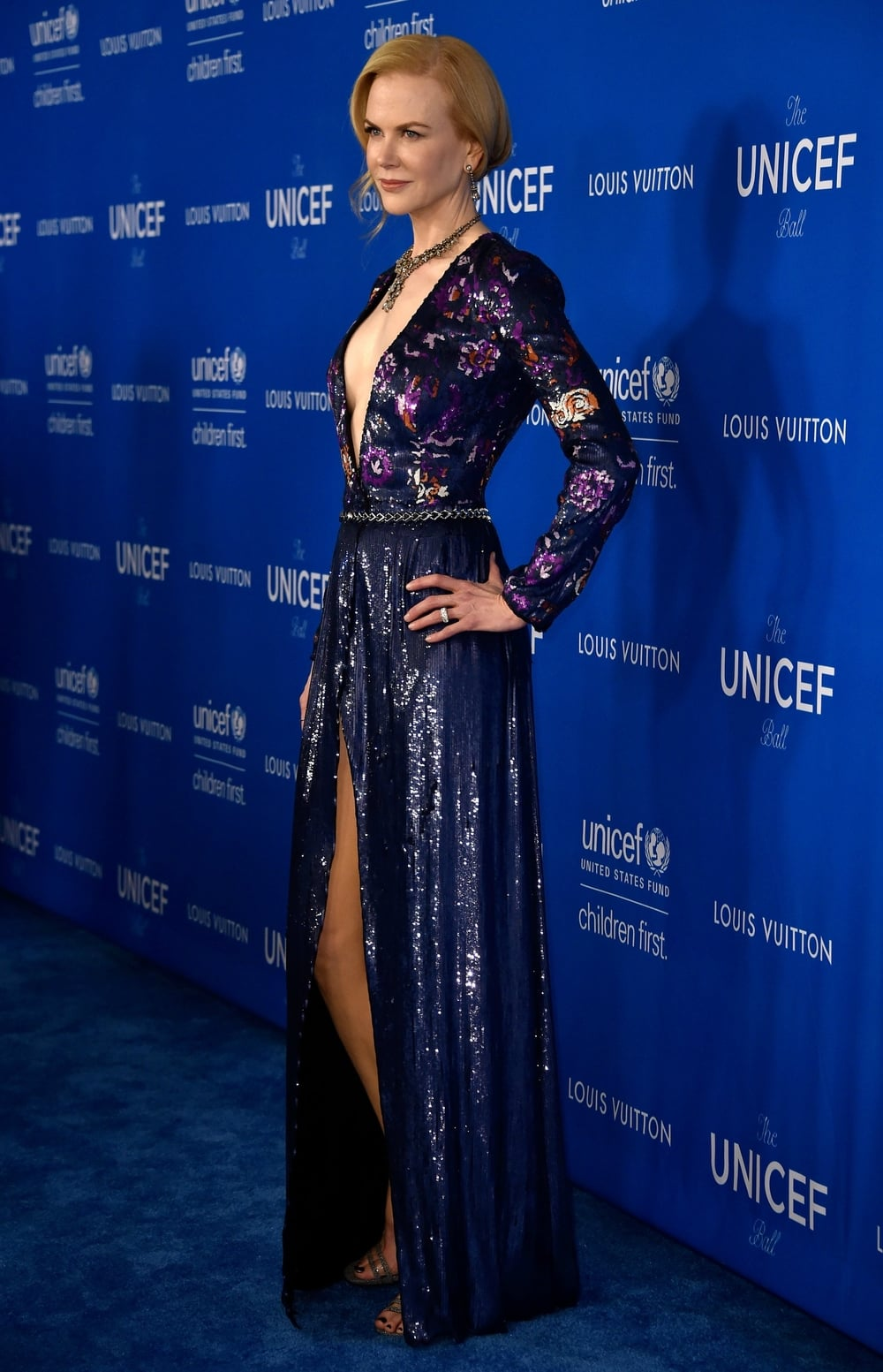 12 February  Nicole Kidman walked the red carpet at the Unicef Ball in Los Angeles wearing a sparkling deep blue sequin gown