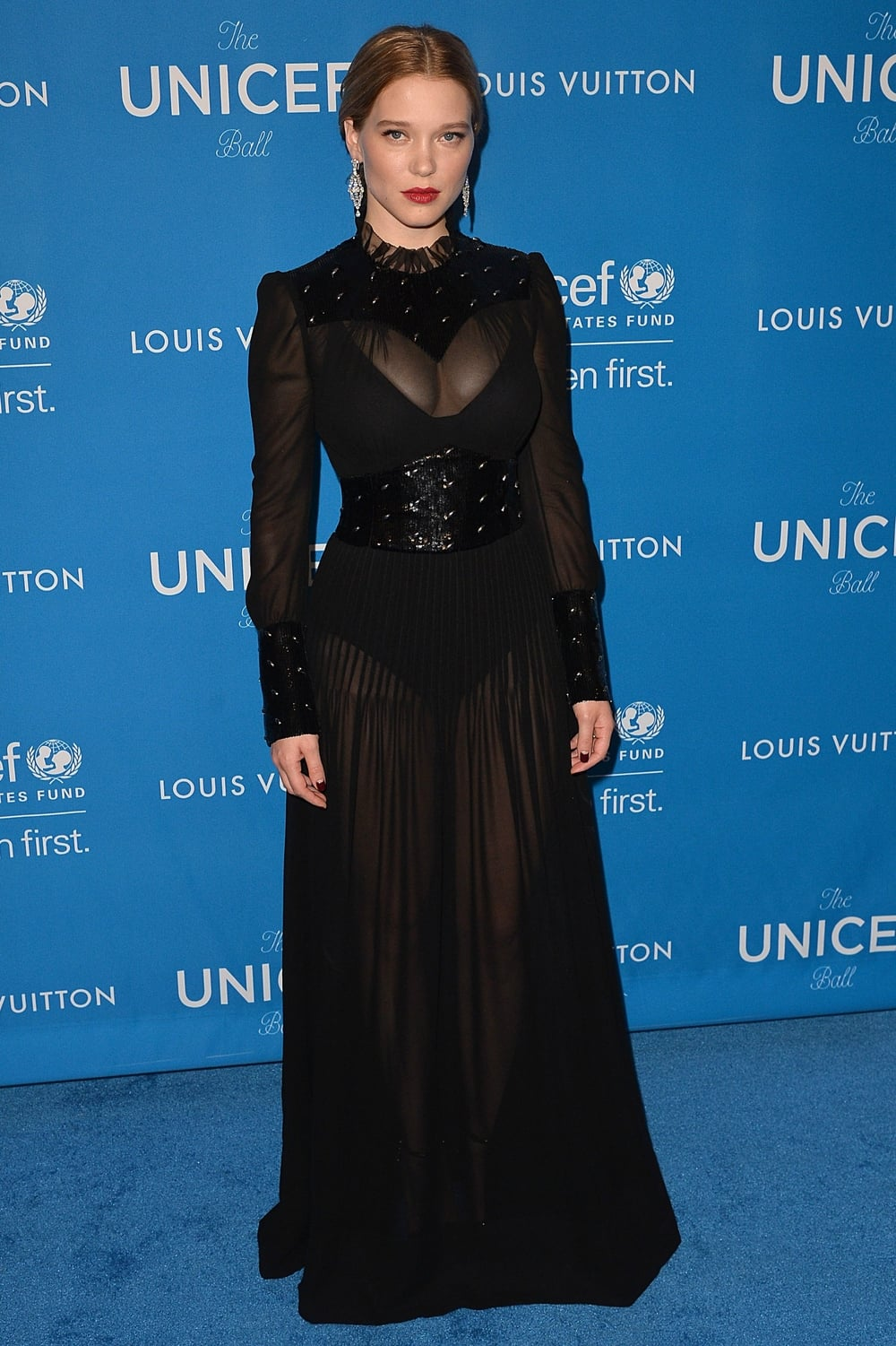12 January New face of Louis Vuitton Lea Seydoux was also in attendance, wearing a sheer black gown