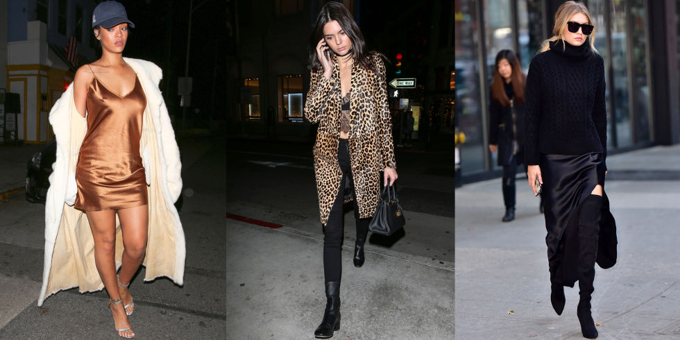 Give your lingerie extra playing time this season à la fashion's favorite style stars—Rihanna, Kendall Jenner and Gigi Hadid. Pair silk pieces with wintry layers and chic extras to transform them from the boudoir to the streets. GETTY IMAGES / AKMGSI