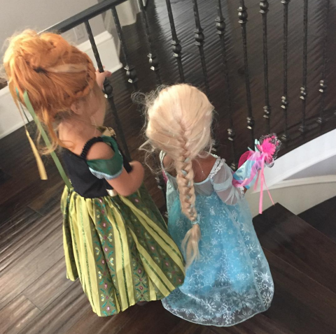 Dressed up as  Frozen 's Elsa for Halloween with Penelope Disick.  INSTAGRAM