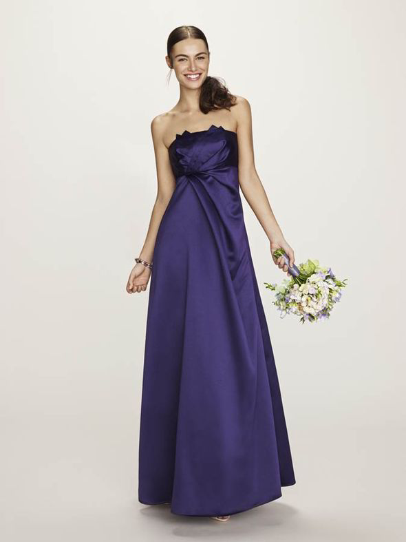 A pleat-front strapless bridesmaid dress will suit a variety of body shapes [BHS]