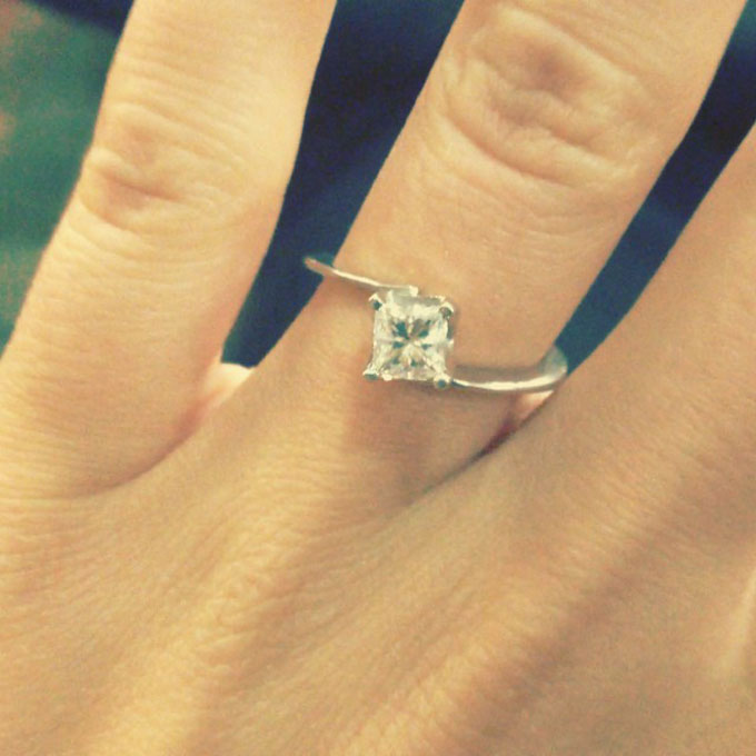 Jessa Duggar's Engagement Ring  Her November 2014 nuptials were widely televised, but  Jessa Duggar kept her engagement ring  relatively secret. Finally she shared a shot of her .75 carat princess-cut diamond engagement ring from  husband Ben Seewald .  Photo: Jessa Duggar via  Instagram