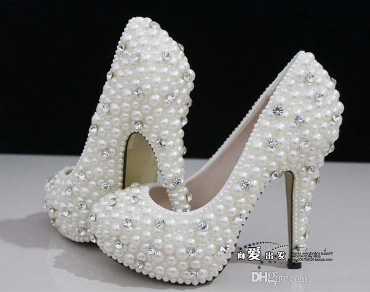 Fashion Luxurious Pearls Crystals Wedding Shoes Custom Made