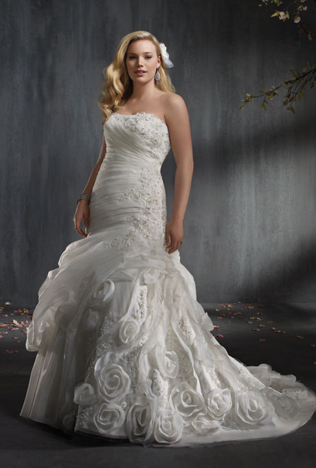 Photo: Courtesy of Alfred Angelo    Style 2343, organza and re-embroidered lace wedding dress with rhinestones, crystal beading, pearls and sequins,$1,349,  Alfred Angelo     See more Alfred Angelo wedding dresses.
