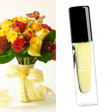 Summer gets a dose of fresh with a lemon chiffon crème called   Lilou by Julep ($14;   julep.com  ) paired with this playful monarch butterfly bouquet of bright yellow and red roses, tangerine ranunculus and lemon leaf greens by Prudence Designs (  prudencedesignsnyc.com  ).