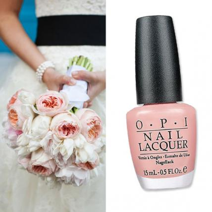 "Enhance the romance of this clutch of coveted David Austen roses with the soft pink and peach hues of OPI ""Italian Love Affair"" ($9;   ulta.com  ). Bouquet for Chandelier Events (  chandeliereventsny.com  )."
