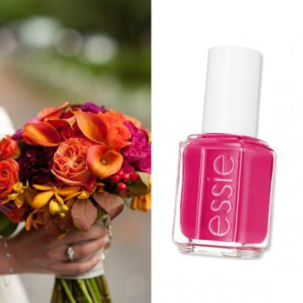 "Turn up the volume on the dance floor with the vivacious ""Haute in the Heat"" from the new Essie Summer Collection ($8.50;  essie.com  ), a perfect accent to this vibrant summer clutch of coral roses, mango calla lilies, sorbet peonies, exotic freesia, orchids, dahlias with modern twisted stems by Stone Kelly (  stonekelly.com  )."