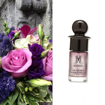 "For a violet-based bouquet, complete with Lisianthus and blush-toned roses (Rachel Cho Floral Design;   rachelchoinc.com  ), add a subtle shimmer with Ruffian's Nail Lacquer in ""Ambrosia"" ($11;   birchbox.com  )."