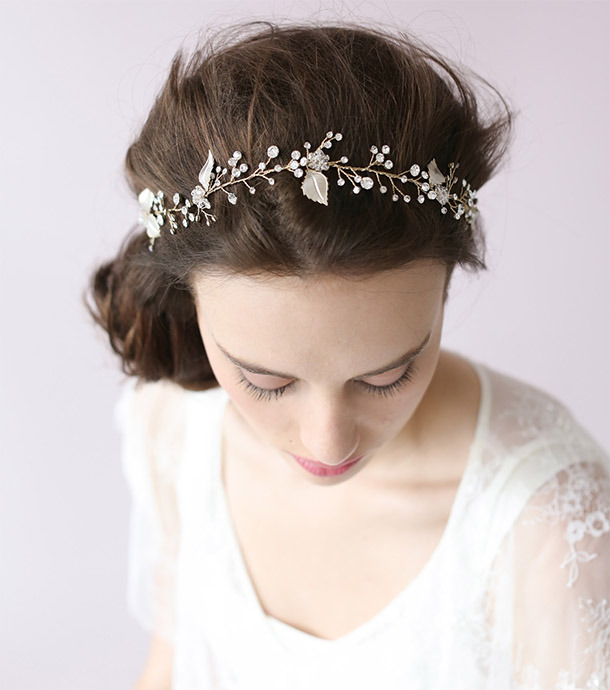 "Twigs & Honey Crystal Sparkle Hair Vine ($190,  twigsandhoney.com )  Like real foliage but better, this flexible hair ""vine"" can be bent to form whichever shape you choose.     Read more:  http://dailymakeover.com/wedding-headpieces/#ixzz3oCkPPNel"
