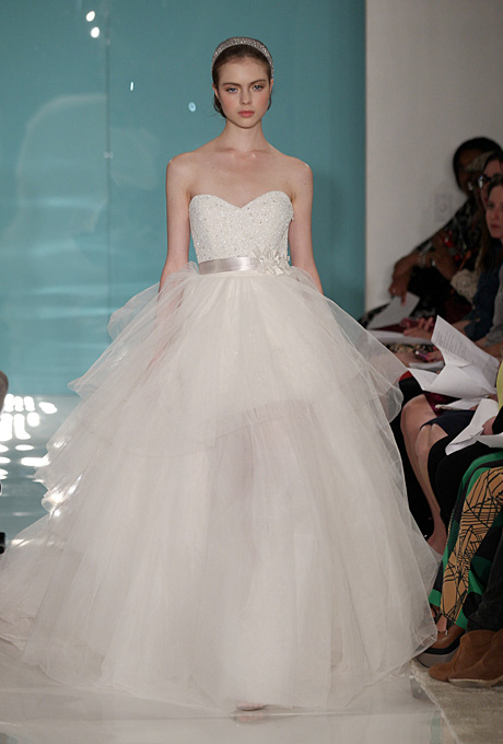 Reem Acra   Gown by  Reem Acra     Browse more Reem Acra wedding dresses.   Photo: Thomas Iannacone