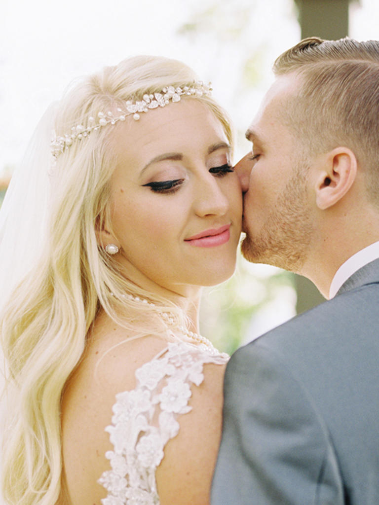 PHOTO BY MARIEL HANNAH PHOTO  Pale pink lipstick meets black winged eyeliner for a look that's both dramatic and sweet.  From the album  A Boho Garden Chic Wedding at Cactus and Tropicals in Draper, Utah
