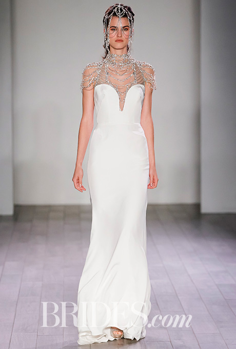 """Freddie"" silk-crepe sheath wedding dress with an intricately draped and beaded neckpiece of alabaster, rhinestone, and chain,  Hayley Paige    Photo: Gerardo Somoza and Alberto Maddaloni /  Indigitalimages.com"