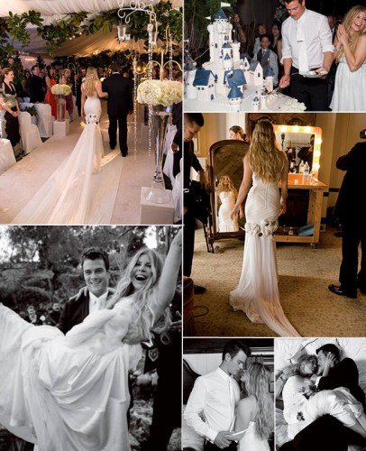 Another romantic celebrity affair was between singer Fergie and actor Josh Duhamel in their wedding in 2009. Just like Gwen, Fergie opted for a head chain instead of the usual veil and their wedding cake was in the shape of a big castle! Not to mention their very steamy photoshoot for the event too.  Prev   Nex