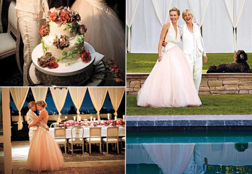 Similar to Chelsea Clinton's wedding, Ellen and Portia's wedding in 2008 was also very simple, romantic, and very intimate. Which is also why so many people have talked about it. Their dogs were present at their wedding, and were sitting with them as well. And instead of standing, they chose to sit all throughout the ceremony too.