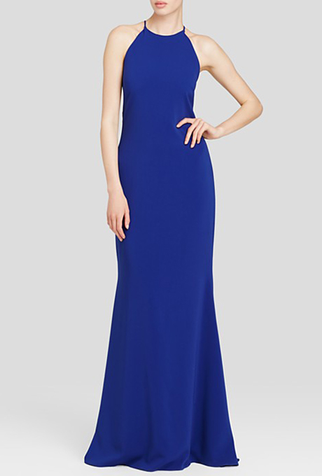 Sleeveless high-neck racer-back gown, $660, Badgley Mischka available at Bloomingdale's    Photo: Courtesy of Bloomingdale's