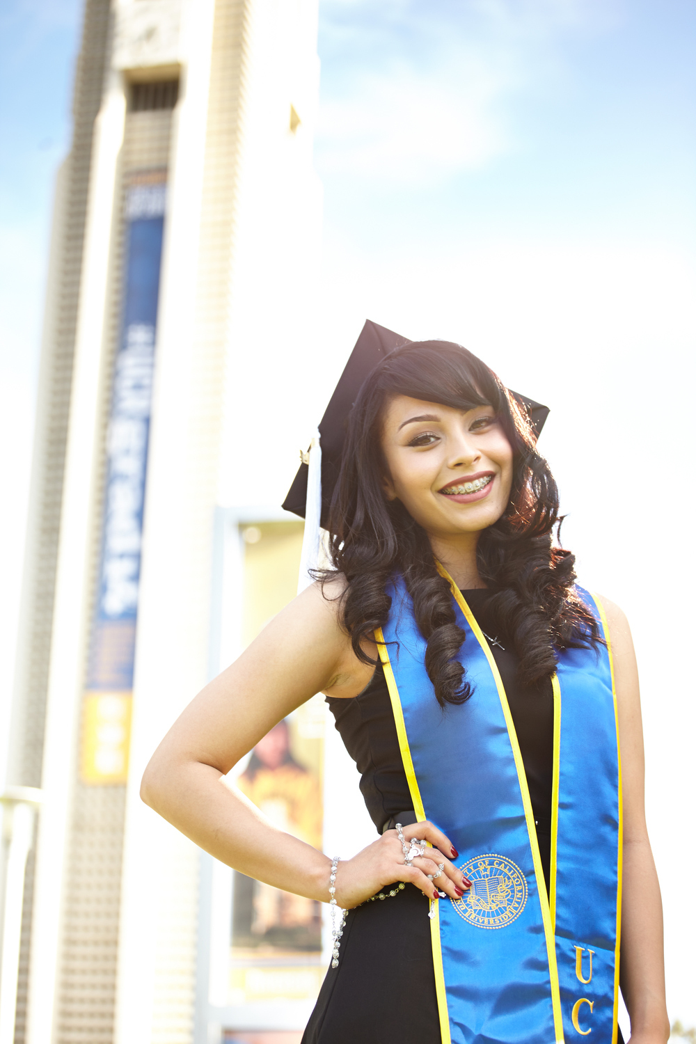 The UCR Clocktower provides a nice backdrop for Blanca's Senior Portraits