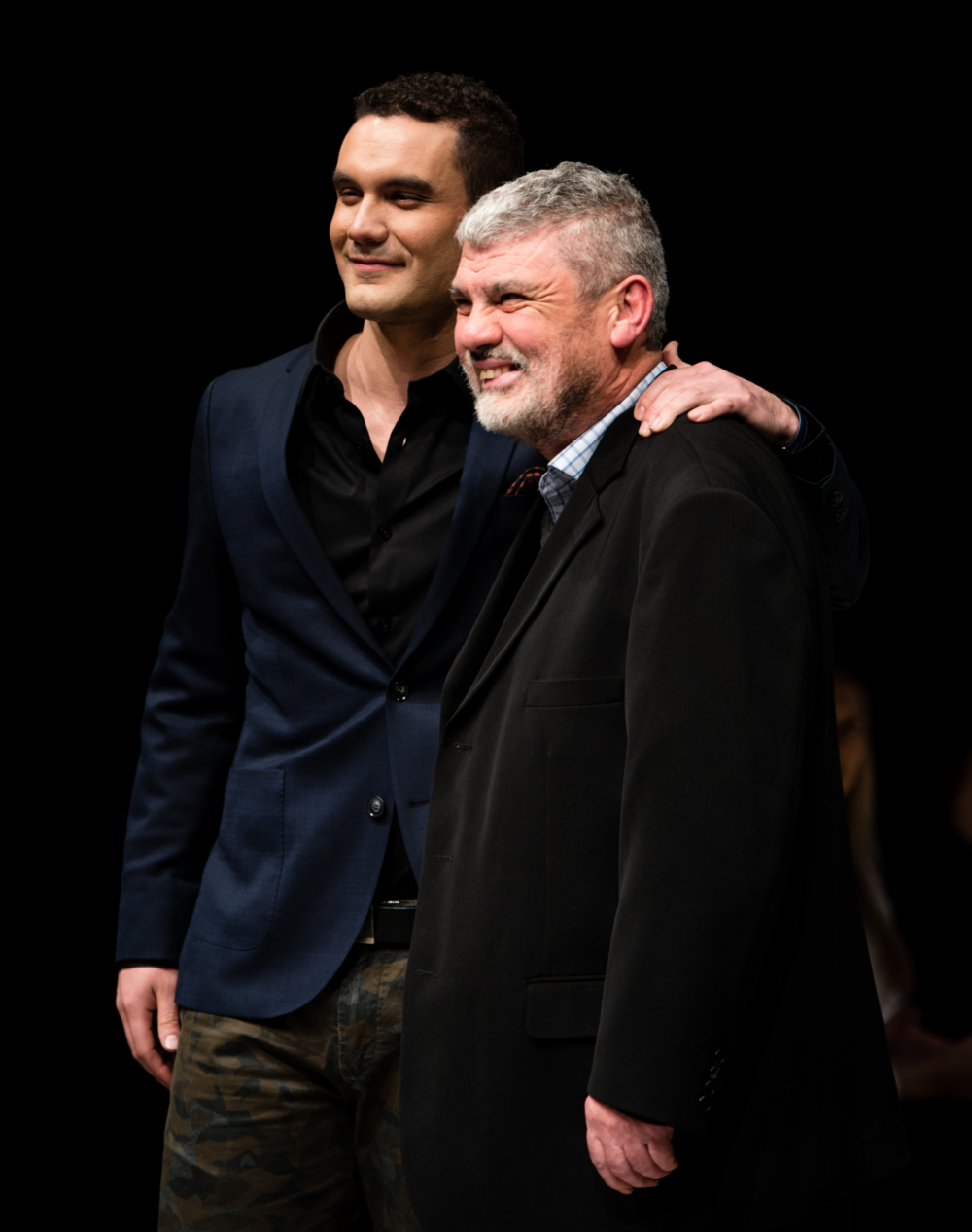 Rodrigo Sanchez with his Father Julio Sanchez at Western Canada Fashion Week.