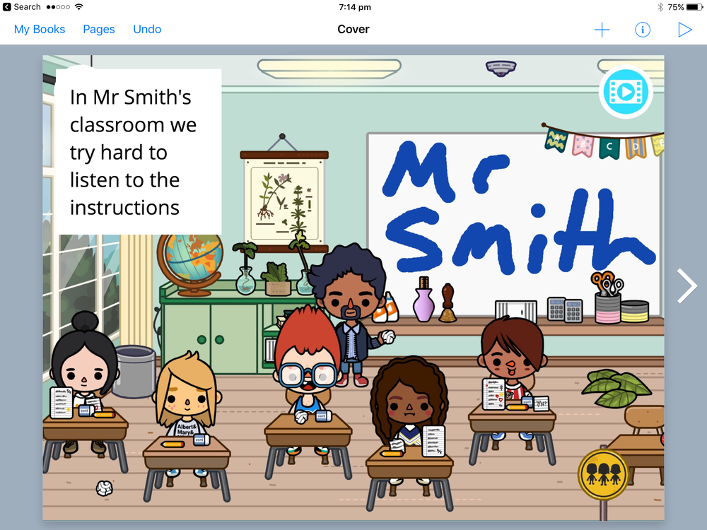 Toca School screenshot that we've imported in Book Creator to further annotate.
